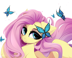 Size: 5000x4000 | Tagged: source needed, safe, artist:xsatanielx, fluttershy, butterfly, pegasus, pony, cheek fluff, chest fluff, cute, ear fluff, eyeshadow, female, floppy ears, lidded eyes, looking at you, makeup, mare, shyabetes, signature, simple background, smiling, solo, spread wings, white background, wing fluff, wings