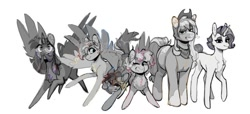 Size: 640x291 | Tagged: safe, artist:bokkitoki, applejack, fluttershy, pinkie pie, rainbow dash, rarity, twilight sparkle, alicorn, earth pony, pegasus, unicorn, alternate hairstyle, black and white, chest fluff, glasses, goggles, grayscale, grin, mane six, monochrome, mouth hold, nervous, one eye closed, redesign, short hair, smiling, straw, sweat, twilight sparkle (alicorn), wink, wip