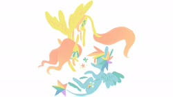 Size: 2048x1152 | Tagged: safe, artist:astro_eden, fluttershy, rainbow dash, pegasus, pony, duo, female, flying, leonine tail, looking at each other, mare, simple background, smiling, spread wings, white background, wings