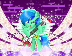 Size: 1500x1169 | Tagged: safe, artist:jadebreeze115, floral pattern, oc, oc only, oc:jade breeze, pegasus, bipedal, blue eyes, blue hair, colored wings, colorful background, crystal, cute, ear fluff, electric guitar, ethereal mane, floral print, flower, gradient wings, guitar, japanese, male, mountain, mountain range, musical instrument, one eye closed, open mouth, original art, patterned background, pegasus oc, rose, singing, smiling, solo, spread wings, stallion, standing, standing up, starry mane, tree branch, water, wings, wink