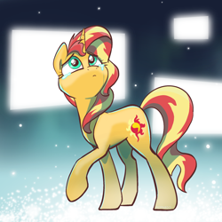 Size: 2048x2048   Tagged: safe, artist:pfeffaroo, sunset shimmer, pony, unicorn, crying, female, head turned, high res, looking up, mare, princess celestia's special princess making dimension, raised hoof, sad, solo, standing, teary eyes