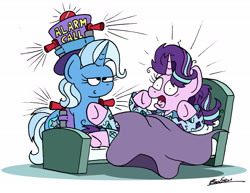 Size: 2324x1796 | Tagged: safe, artist:bobthedalek, starlight glimmer, trixie, pony, unicorn, airhorn, bed, bed mane, clothes, hat, inconvenient trixie, pajamas, smug, startled, this will end in tinnitus, top hat