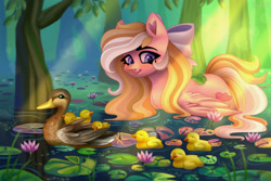 Size: 3000x2000 | Tagged: safe, artist:irinamar, oc, oc only, oc:bay breeze, bird, duck, pegasus, pony, blushing, bow, cute, duckling, female, lilypad, mare, not fluttershy, pond, solo, swimming, tree, water