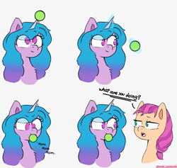 Size: 3273x3101 | Tagged: safe, artist:endo, izzy moonbow, sunny starscout, earth pony, pony, unicorn, chest fluff, cute, dialogue, female, g5, high res, horn, horn guard, horn impalement, hornball, izzybetes, looking at each other, magic, mare, no pupils, nom, onomatopoeia, open mouth, simple background, sketch, solo, telekinesis, tennis ball, text, that pony sure does love tennis balls, white background