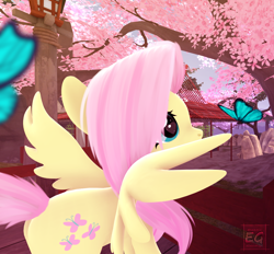 Size: 1162x1080 | Tagged: safe, artist:elektra-gertly, fluttershy, butterfly, pegasus, pony, 3d, cherry blossoms, cherry tree, cute, daaaaaaaaaaaw, flower, flower blossom, heart eyes, looking at something, shyabetes, solo, source filmmaker, spread wings, tree, wingding eyes, wings