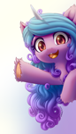 Size: 1600x2800 | Tagged: safe, artist:symbianl, izzy moonbow, pony, unicorn, g5 movie, chest fluff, cute, ear fluff, female, g5, gradient background, izzybetes, leg fluff, looking at you, mare, open mouth, scene interpretation, solo, unshorn fetlocks