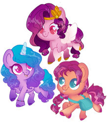 Size: 1079x1237 | Tagged: safe, artist:ninjagobrony287, izzy moonbow, pipp petals, sunny starscout, earth pony, pegasus, pony, unicorn, g5, adorapipp, bag, braid, cute, female, heart eyes, izzybetes, open mouth, simple background, sunnybetes, tongue out, transparent background, unshorn fetlocks, wingding eyes, wings