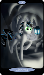 Size: 1500x2591   Tagged: safe, artist:sixes&sevens, part of a set, oc, oc only, oc:prince mentiad, alicorn, cave, glowing eyes, lantern, major arcana, male, rock, snow, solo, stalactite, stalagmite, storm, tarot card, the hermit