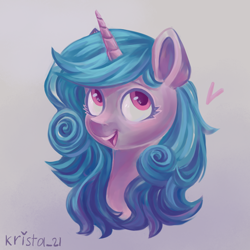Size: 900x900 | Tagged: safe, artist:krista-21, izzy moonbow, pony, unicorn, bust, female, g5, heart, mare, open mouth, portrait, solo