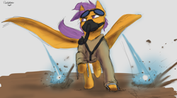 Size: 4098x2260 | Tagged: safe, artist:flashnoteart, scootaloo, pegasus, concept art, goggles, oxygen mask, running, sketch, solo, weapon, wings