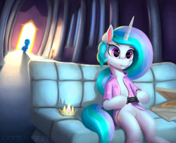 Size: 1211x986 | Tagged: safe, artist:gouransion, princess celestia, princess luna, alicorn, pony, controller, couch, crown, female, flower shirt, food, hoof hold, jewelry, mare, pizza, playing, regalia