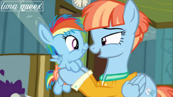 Size: 1920x1080 | Tagged: safe, artist:luna.queex, edit, edited screencap, screencap, rainbow dash, windy whistles, pegasus, pony, a flurry of emotions, baby, baby dash, baby pony, clock, clothes, diaper, duo, eyelashes, female, filly, filly rainbow dash, holding a pony, indoors, like mother like daughter, like parent like child, mare, mother and child, mother and daughter, open mouth, smiling, wings, young, younger