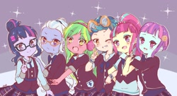 Size: 2048x1111 | Tagged: safe, artist:moh_mlp2, indigo zap, lemon zest, sci-twi, sour sweet, sugarcoat, sunny flare, twilight sparkle, equestria girls, friendship games, anime, blushing, clothes, crystal prep academy uniform, crystal prep shadowbolts, cute, female, one eye closed, open mouth, peace sign, school uniform, shadow five, shadow six, smiling, sweat, sweatdrop, wink