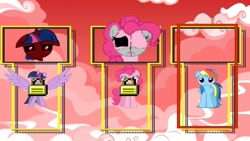 Size: 1280x720 | Tagged: safe, pinkie pie, rainbow dash, twilight sparkle, alicorn, earth pony, pegasus, pony, .exe, character select, dead, locked, no eyes, red eyes, red sky, sadness, smiling, sonic.exe, stitches, twilight sparkle (alicorn)