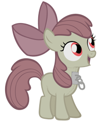 Size: 960x1200 | Tagged: safe, apple bloom, earth pony, pony, robot, robot pony, bow, chains, female, filly, hair bow, smiling