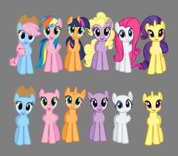 Size: 937x823 | Tagged: safe, artist:bronybase, applejack, fluttershy, pinkie pie, rainbow dash, rarity, twilight sparkle, oc, earth pony, pegasus, unicorn, bald, base, earth pony oc, eyelashes, female, gray background, group, hat, horn, mane six, mare, multicolored hair, open mouth, pegasus oc, rainbow hair, simple background, smiling, unicorn oc, wings