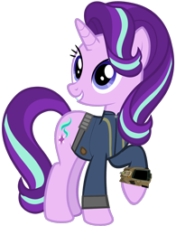Size: 1280x1641 | Tagged: safe, artist:andoanimalia, artist:ponygamer2020, starlight glimmer, pony, unicorn, fallout equestria, uncommon bond, clothes, fallout, female, happy, jumpsuit, mare, pipboy, simple background, solo, starlight glimmer day, transparent background, vault suit, vector