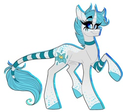 Size: 999x911 | Tagged: safe, alternate version, artist:moshi.poni, oc, oc only, pony, unicorn, choker, colored, colored hooves, eyelashes, female, horn, leonine tail, mare, signature, simple background, smiling, solo, unicorn oc, white background