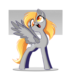 Size: 1884x2019 | Tagged: safe, artist:syrupyyy, derpy hooves, pegasus, pony, colored pupils, cute, derpabetes, female, mare, open mouth, solo, spread wings, wings