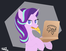 Size: 2372x1864 | Tagged: safe, artist:samsailz, starlight glimmer, pony, unicorn, box, cheese, eating, food, herbivore, lineless, no pupils, pineapple, pineapple pizza, pizza, pizza box, slice of pizza, solo