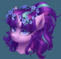 Size: 1480x1440   Tagged: safe, alternate version, artist:orchidpony, starlight glimmer, pony, unicorn, bust, cute, ear fluff, floral head wreath, flower, glimmerbetes, heart eyes, portrait, redraw, smiling, solo, wingding eyes