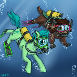 Size: 1600x1600 | Tagged: safe, artist:scarletdex8299, sandbar, yona, earth pony, pony, yak, air tank, brown eyes, crepuscular rays, duo, female, flippers, flowing tail, goggles, green eyes, male, ocean, scuba, shipping, straight, swimming, underwater, water, yonabar