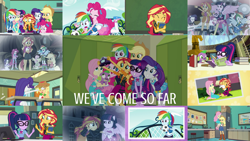 Size: 1280x720   Tagged: safe, edit, edited screencap, editor:quoterific, screencap, angel bunny, applejack, fluttershy, pinkie pie, rainbow dash, rarity, sci-twi, spike, spike the regular dog, sunset shimmer, twilight sparkle, bird, dog, rabbit, equestria girls, equestria girls (movie), equestria girls series, forgotten friendship, legend of everfree, rainbow rocks, angelbetes, animal, applejack's hat, bass guitar, book, boots, bowtie, bracelet, camp everfree outfits, chalkboard, clothes, computer, converse, cowboy boots, cowboy hat, crying, cutie mark, cutie mark on clothes, denim skirt, diapinkes, drums, duo, duo female, eyes closed, fall formal outfits, female, flashback, football, geode of empathy, geode of fauna, geode of shielding, geode of sugar bombs, geode of super speed, geode of super strength, geode of telekinesis, glasses, hairpin, hat, hoodie, humane five, humane seven, humane six, jacket, jewelry, leather, leather jacket, library, lockers, magical geodes, male, microphone, musical instrument, necklace, night, open mouth, phone, ponied up, ponified, pony ears, ponytail, rainbow rocks outfit, raribetes, rarity peplum dress, reading, sandals, shimmerbetes, shoes, skirt, tanktop, the rainbooms, thumbs up, twilight ball dress, wall of tags, we've come so far, welcome to the show, wings