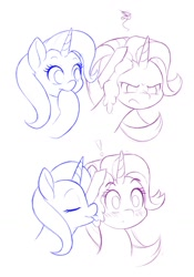 Size: 1000x1429 | Tagged: safe, artist:dstears, starlight glimmer, trixie, the last problem, blushing, female, lesbian, licking, older, older starlight glimmer, older trixie, shipping, sketch, startrix, tongue out