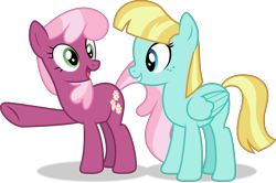 Size: 9331x6197 | Tagged: safe, artist:thatusualguy06, derpibooru exclusive, cheerilee, helia, earth pony, pegasus, pony, triple threat, .svg available, absurd resolution, duo, female, mare, pointing, show accurate, simple background, transparent background, vector