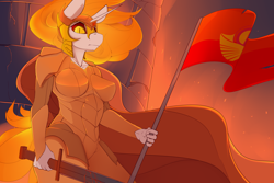 Size: 3600x2400 | Tagged: safe, artist:chapaevv, daybreaker, anthro, armor, fire, flag, looking at you, looking down, patreon, patreon reward, solar empire, solo, sword, weapon