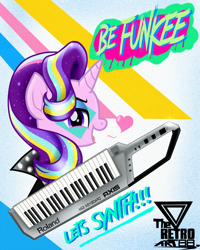Size: 1300x1625   Tagged: safe, artist:theretroart88, starlight glimmer, unicorn, 80s, alternate hairstyle, keytar, musical instrument, open mouth, solo, starlight glimmer day, synthesizer