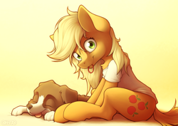 Size: 2400x1700   Tagged: safe, artist:ohemo, applejack, winona, dog, earth pony, pony, chest fluff, clothes, cute, cutie mark, duo, eyes closed, jackabetes, looking at you, loose hair, morning ponies, mouth hold, shirt, sitting, smiling, t-shirt, tongue out, winonabetes