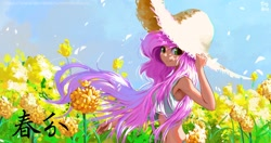 Size: 1920x1014 | Tagged: safe, artist:tinybenz, fluttershy, equestria girls, belly button, chinese, female, flower, hat, looking at you, midriff, solar term, solo, straw hat, windswept hair, wrong eye color
