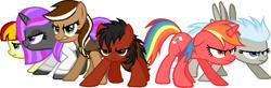 Size: 867x286 | Tagged: safe, artist:firepony-bases, artist:pegasski, oc, oc only, oc:dala, earth pony, pegasus, pony, unicorn, angry, base used, clothes, earth pony oc, eyelashes, frown, group, horn, lab coat, multicolored hair, pegasus oc, rainbow hair, simple background, transparent background, unicorn oc, wings