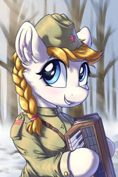 Size: 1200x1800 | Tagged: safe, artist:ravistdash, oc, earth pony, pony, accordion, clothes, cyrillic, hat, katyusha, military uniform, musical instrument, red army, russia, russian, smiling, soldier, solo, soviet, uniform