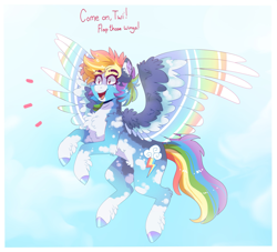 Size: 2247x2040 | Tagged: safe, artist:aaa-its-spook, rainbow dash, pegasus, pony, alternate hairstyle, blaze (coat marking), cheek fluff, chest fluff, coat markings, colored wings, cute, dashabetes, dialogue, ear fluff, excited, eyebrows, eyebrows visible through hair, facial markings, female, fluffy, flying, hoof fluff, hoof polish, implied lesbian, implied shipping, implied twidash, implied twilight sparkle, mare, multicolored wings, open mouth, pale belly, socks (coat markings), solo, spread wings, talking, white belly, wing fluff, wings