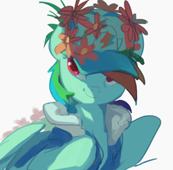 Size: 824x808 | Tagged: safe, artist:luciferamon, rainbow dash, pegasus, pony, clothes, coat, flower, hat, solo