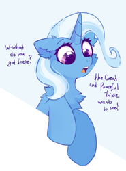 Size: 563x761 | Tagged: safe, artist:mirtash, trixie, pony, unicorn, bust, cheek fluff, chest fluff, curious, cute, dialogue, diatrixes, ear fluff, featured image, female, floppy ears, fluffy, great and powerful, leaning, looking down, mare, open mouth, shoulder fluff, simple background, solo, suspicious, sweet dreams fuel, third person, white background, wide eyes