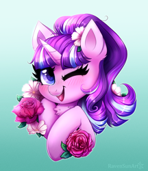 Size: 3336x3853 | Tagged: safe, artist:confetticakez, starlight glimmer, pony, unicorn, blushing, bust, chest fluff, colored pupils, cute, ear fluff, female, flower, flower in hair, glimmerbetes, gradient background, looking at you, mare, one eye closed, open mouth, rose, s5 starlight, smiling, smiling at you, solo, wink