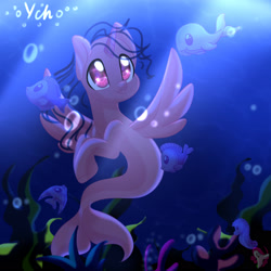 Size: 2024x2024 | Tagged: safe, artist:auroracursed, oc, oc only, alicorn, fish, pony, seapony (g4), bubble, crepuscular rays, deviantart watermark, eyelashes, fish tail, flowing mane, flowing tail, horn, obtrusive watermark, ocean, purple eyes, seaponified, seaweed, smiling, solo, species swap, sunlight, tail, underwater, water, watermark, wings