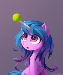 Size: 2100x2500 | Tagged: safe, artist:emeraldgalaxy, izzy moonbow, pony, unicorn, g5, :o, ball, cheek fluff, cute, eyes on the prize, female, gray background, horn, horn guard, hornball, izzy's tennis ball, izzybetes, looking up, mare, open mouth, shoulder fluff, simple background, sitting, solo, tennis ball