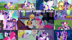 Size: 1280x721 | Tagged: safe, edit, edited screencap, editor:quoterific, screencap, applejack, blue october, blueberry muffin, bon bon, doctor whooves, fluttershy, meadow song, moondancer, pinkie pie, princess cadance, princess celestia, princess ember, princess luna, rainbow dash, rarity, shining armor, spike, spring melody, sprinkle medley, sweetie drops, time turner, twilight sparkle, alicorn, dragon, earth pony, pegasus, pony, unicorn, a canterlot wedding, a royal problem, amending fences, fame and misfortune, friendship is magic, party pooped, princess twilight sparkle (episode), the crystal empire, the hooffields and mccolts, the saddle row review, triple threat, twilight's kingdom, ^^, applejack's hat, cowboy hat, crying, cute, dashabetes, diapinkes, dragoness, eyes closed, female, hat, hug, jackabetes, male, mane seven, mane six, open mouth, ponyville, raribetes, shocked, shyabetes, single tear, sugarcube corner, teeth, twiabetes, twilight sparkle (alicorn), twilight's castle, unicorn twilight