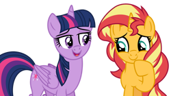 Size: 1024x573 | Tagged: safe, artist:emeraldblast63, edit, edited screencap, screencap, sunset shimmer, twilight sparkle, alicorn, pony, unicorn, cute, duo, duo female, female, looking down, not a vector, open mouth, sequel, shimmerbetes, simple background, transparent background, twilight sparkle (alicorn), vector