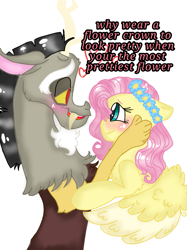 Size: 899x1200 | Tagged: safe, artist:cocolove2176, discord, fluttershy, draconequus, pegasus, pony, blushing, bust, cheek squish, discoshy, eyelashes, female, floral head wreath, flower, grammar error, heart, male, mare, shipping, simple background, smiling, squishy cheeks, straight, talking, white background, wings
