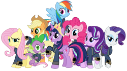 Size: 5360x3008 | Tagged: safe, artist:alandssparkle, artist:andoanimalia, artist:patec, artist:ponygamer2020, artist:snapshopvisuals, applejack, fluttershy, pinkie pie, rainbow dash, rarity, spike, starlight glimmer, twilight sparkle, alicorn, dragon, earth pony, pegasus, pony, unicorn, fallout equestria, applejack's hat, bipedal, clothes, cowboy hat, crown, fallout, female, flying, hat, jewelry, jumpsuit, looking at you, male, mane eight, mane seven, mane six, open mouth, pipboy, regalia, simple background, teeth, transparent background, twilight sparkle (alicorn), vault suit, vector