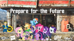 Size: 5360x3008   Tagged: safe, artist:alandssparkle, artist:andoanimalia, artist:patec, artist:ponygamer2020, artist:snapshopvisuals, applejack, fluttershy, pinkie pie, rainbow dash, rarity, spike, starlight glimmer, twilight sparkle, alicorn, dog, dragon, earth pony, pegasus, pony, unicorn, fallout equestria, applejack's hat, armor, bethesda, bipedal, brotherhood of steel, clothes, cowboy hat, crown, dogmeat, fallout, fallout 4, female, flying, hasbro, hasbro logo, hat, jewelry, jumpsuit, looking at you, male, mane eight, mane seven, mane six, nuka cola, open mouth, pipboy, power armor, prepare for the future, regalia, teeth, twilight sparkle (alicorn), vault 111, vault boy, vault suit, vector, wallpaper, winged spike, workshop