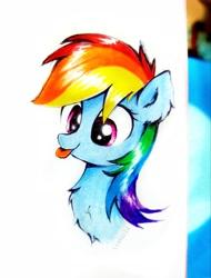 Size: 2377x3122 | Tagged: safe, artist:liaaqila, rainbow dash, pegasus, pony, :p, cute, dashabetes, liaaqila is trying to murder us, liaaqila is trying to murder us with dashabetes, tongue out, traditional art