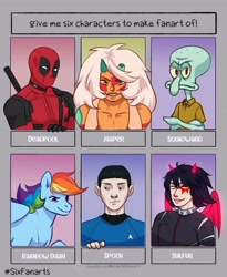 Size: 1772x2160 | Tagged: safe, artist:chocobir1, rainbow dash, human, octopus, pegasus, pony, anthro, anthro with ponies, bust, clothes, crossed arms, crossover, deadpool, elf ears, face paint, female, frown, jasper (steven universe), mare, marvel comics, six fanarts, smiling, spock, spongebob squarepants, squidward tentacles, star trek, steven universe, sword, weapon