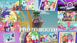 Size: 1280x721 | Tagged: safe, edit, edited screencap, editor:quoterific, screencap, applejack, fluttershy, pinkie pie, rainbow dash, rarity, sci-twi, sunset shimmer, trixie, twilight sparkle, equestria girls, equestria girls series, rollercoaster of friendship, applejack's hat, boots, bowtie, bracelet, clothes, converse, cowboy boots, cowboy hat, crossed arms, cutie mark, cutie mark on clothes, denim skirt, duo, duo female, eyes closed, female, geode of empathy, geode of fauna, geode of shielding, geode of sugar bombs, geode of super speed, geode of super strength, geode of telekinesis, glasses, guitar, hairpin, hands on hip, hat, holding hands, hoodie, humane five, humane seven, humane six, jacket, jewelry, laughing, leather, leather jacket, magical geodes, microphone, musical instrument, necklace, open mouth, photo booth, photo booth (song), ponied up, ponytail, rarity peplum dress, roller coaster, shipping fuel, shoes, singing, skirt, tanktop, the rainbooms