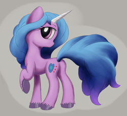 Size: 3824x3491 | Tagged: safe, artist:itchystomach, izzy moonbow, pony, unicorn, g5, big tail, butt, digital art, female, gray background, head turned, high res, izzy moonbutt, looking at you, looking back, looking back at you, mare, plot, profile, raised hoof, rear view, simple background, solo, standing, unshorn fetlocks